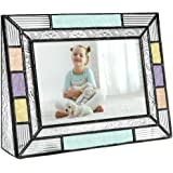 J Devlin Pic 372-46H Colorful Stained Glass Picture Frame Tabletop 4 x 6 Photo Aqua Blue Peach Purple Colorful Home Decor