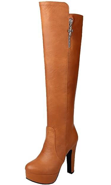 Unbekannt Knie Hohe Stiefel Damen PU Leder Casual High Heel Herbst Winter Warme Plateau Lange Stiefel von Bigtree Schwarz 38 EU IfWhqhYaA