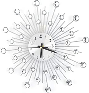 11.81 inch 3D Crystal Wall Clock Sparkling Bling Diamond-Studded Silver Wall Clock Modern Fashion Round Design Metal Digital Needle Wall Decor Crystal for Kitchen Living Room Bedroom