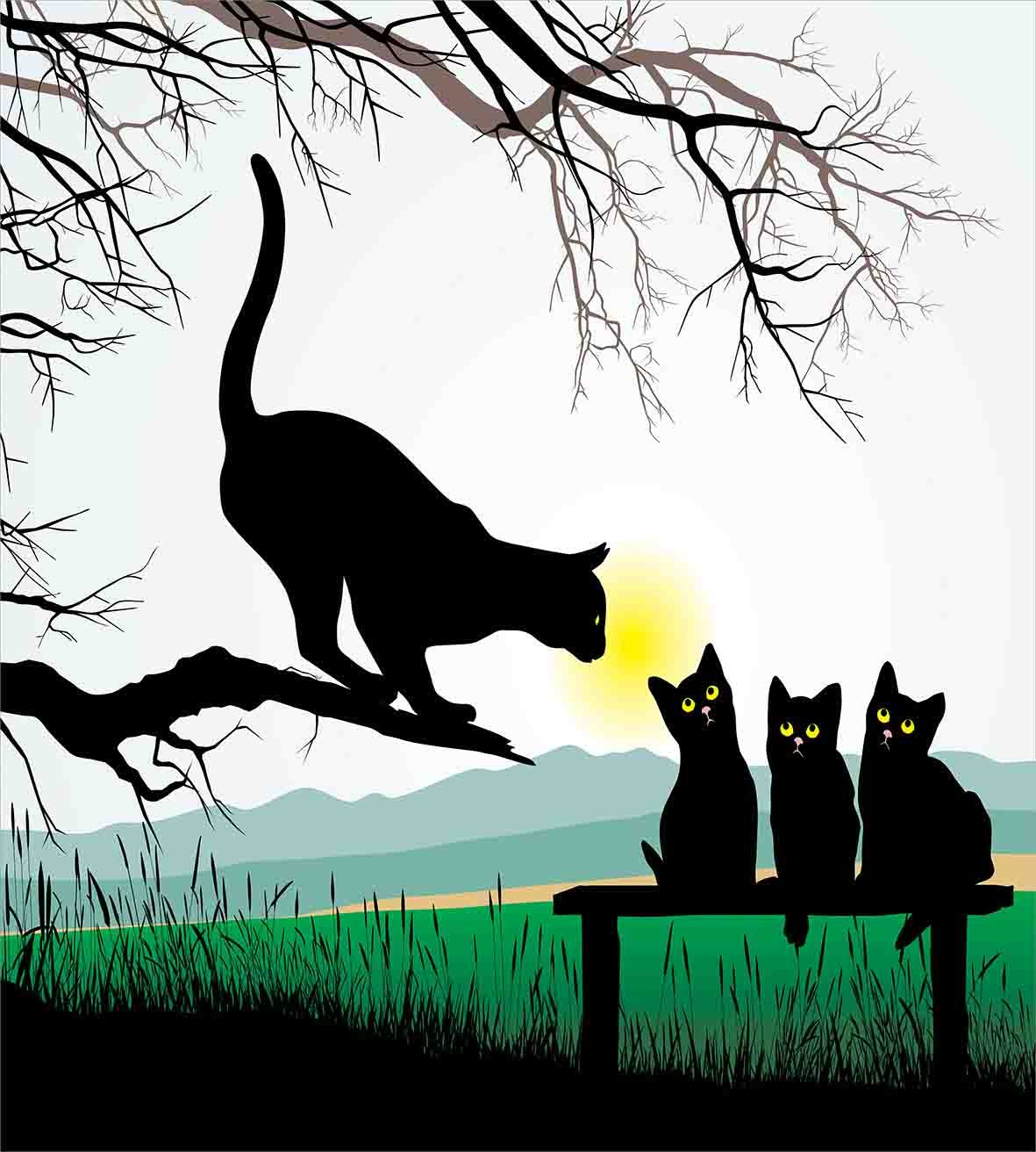 Ambesonne Cat Duvet Cover Set Twin Size, Mother Cat on Tree Branch and Baby Kittens in Park Best Friends I Love My Kitty Graphic, Decorative 2 Piece Bedding Set with 1 Pillow Sham, Multi by Ambesonne (Image #2)