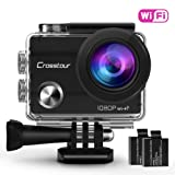 """Crosstour Action Camera Waterproof Wifi Full HD 1080P 2"""" LCD Screen 98ft Underwater 170° Wide-angle Sports Camera with 2 Rechargeable 1050mAh Batteries and Mounting Accessory Kits"""