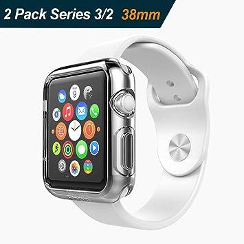 iVoler [2 Unidades] Funda para Apple Watch 38mm Series 3/2, Protector de Pantalla para iWatch Serie 3/2 38mm, Carcasa de Apple Watch Series 3/ Serie 2 ...