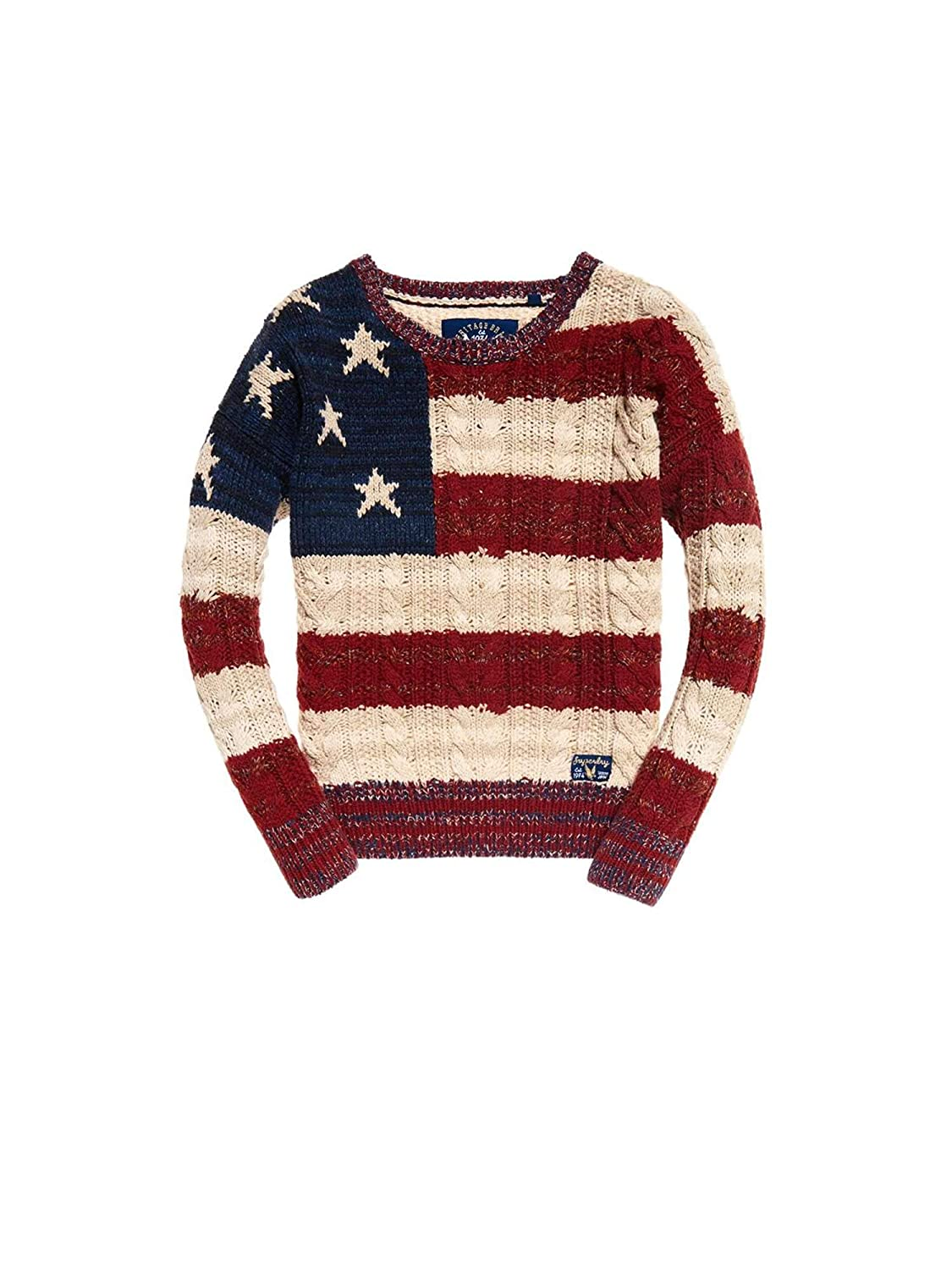8444f87ed Superdry Americana Cable Knit Knits Large Navy Burnt Red Ecru   Amazon.co.uk  Clothing