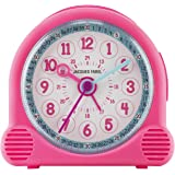 JACQUES FAREL Happy Learning Kinder-Wecker Mädchen Rosa ohne Ticken Snooze Analog Quarz ACL 01