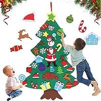 Huker Fieltro Árbol de Navidad, Árbol de Navidad de Fieltro DIY, los Ornamentos Desmontables 32pcs, Colgantes de la…