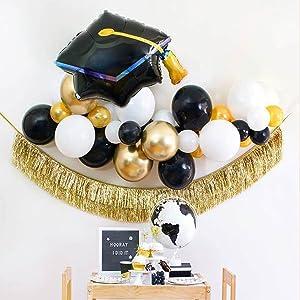 Graduation 2021 Decorations Large Congrats Grad Graduation Cap Balloons Set - 26.5 inch , Black and Gold Graduation Balloons For Graduation 2021 Decorations, trencher cap Congrats Grad Balloons for College, High School Grad Party Decor,41Pcs