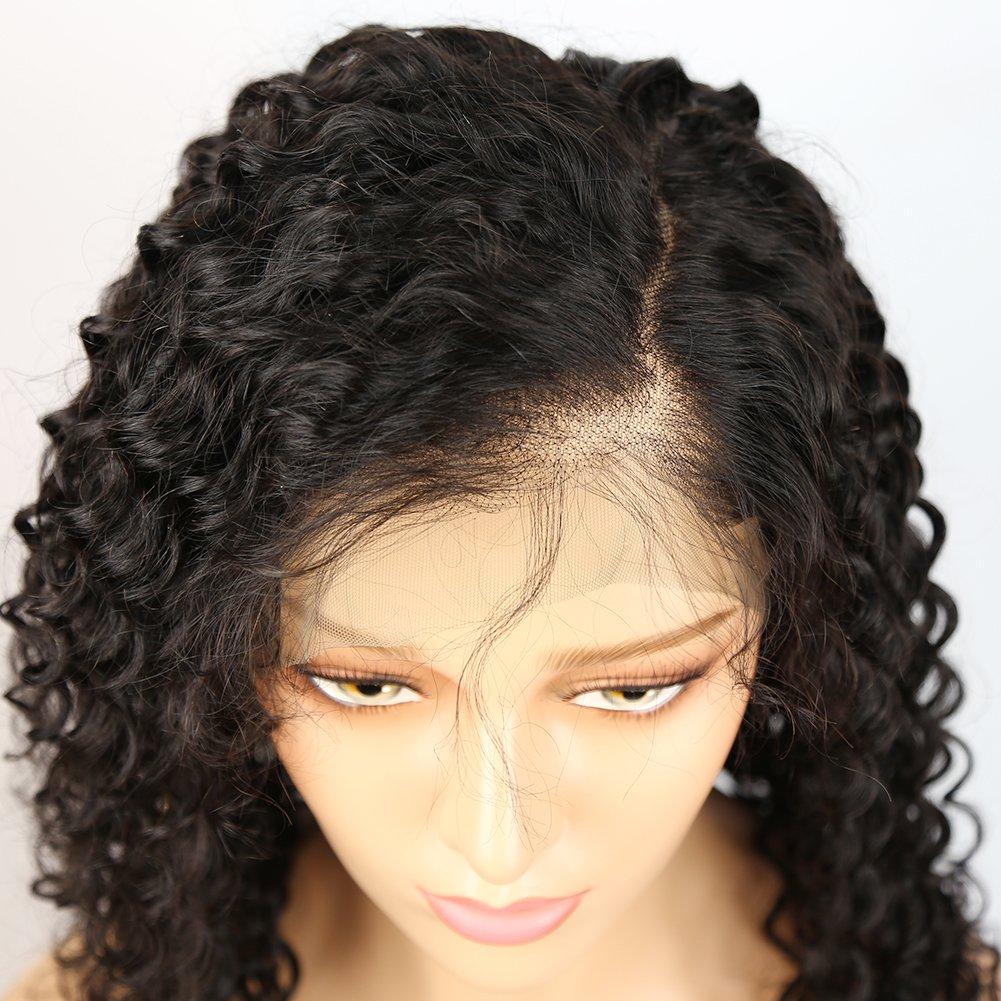 360 Lace Frontal Wigs Deep Curly 150% Density Human Hair Wigs for Black Women with Baby Hair Natural Color 20inch