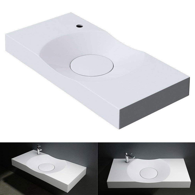 BTH: 100x48x10 cm Design Waschbecken Colossum15-R in reinweis als Aufsatzwaschbecken und H/ängewaschbecken geeingnet aus Gussmarmor