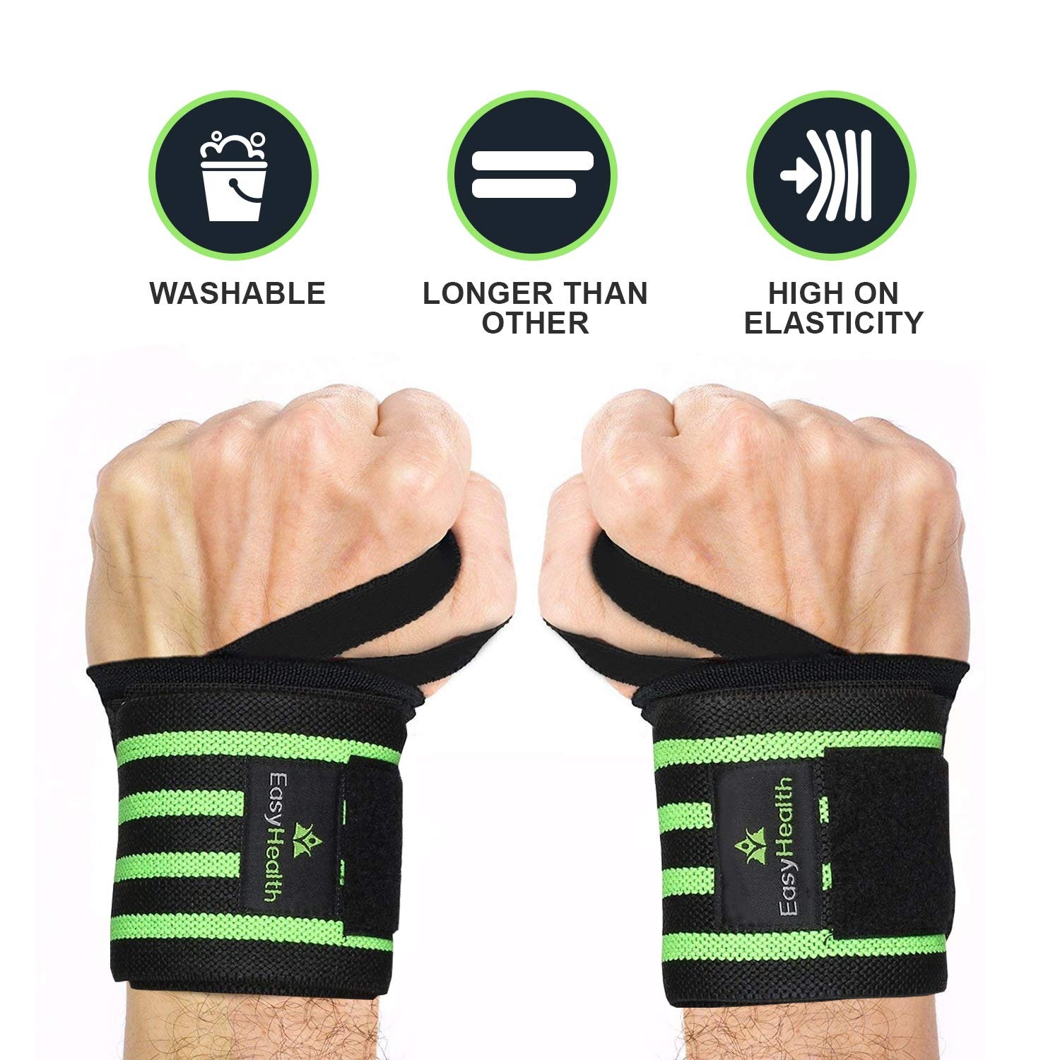 "EasyHealth Wrist Wraps 22"" Professional Grade with Thumb Loops Wrist Support for Men and Women product image"