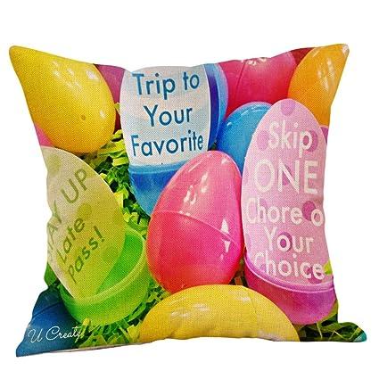 BBestseller Fundas de cojín de Lino Pascua,Super Suave Colorear Huevo Imprimiendo Cojines Sofa Almohadas IKEA Decorativo (P)