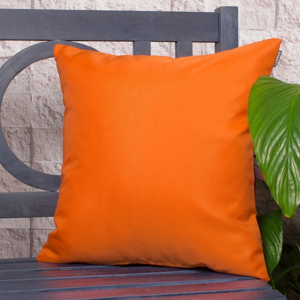Bean Bag Bazaar Outdoor Cushion - 43cm x 43cm - Bright Orange - Fibre Filled, Water Resistant - Decorative Scatter Cushions for Garden Chair, Bench, or Sofa PEBBLE 5