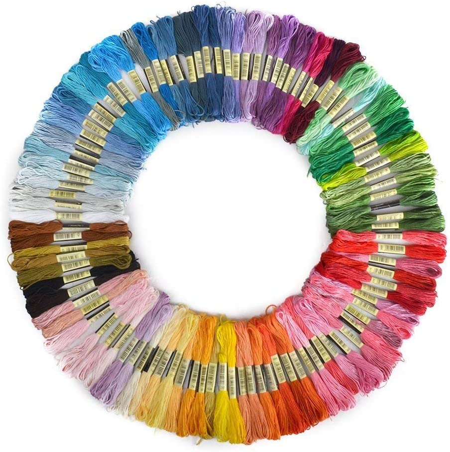 Glass Bottles Pack of 100 Skeins DIY Hair Rings Cotton Stranded Thread skeins Rainbow Colours Cross Stitch Threads Kit Crafts for Bracelets Floss
