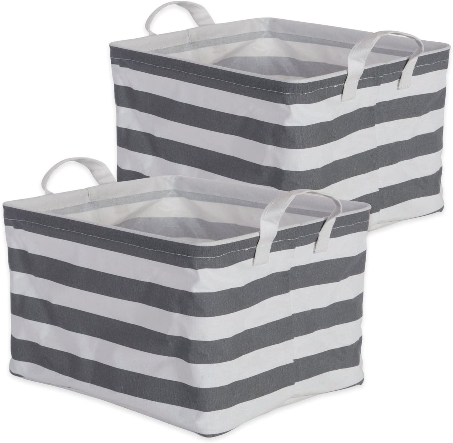 """DII Cotton/Polyester Cube Laundry Basket, Perfect In Your Bedroom, Nursery, Dorm, Closet, 10.5 x 13 x 8.5"""", Medium Set of 2 - Gray Rugby Stripe"""