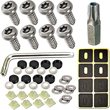 Quality* 8X Number Plate Self Tapping Screws And Caps Fitting Fixing Kit Car