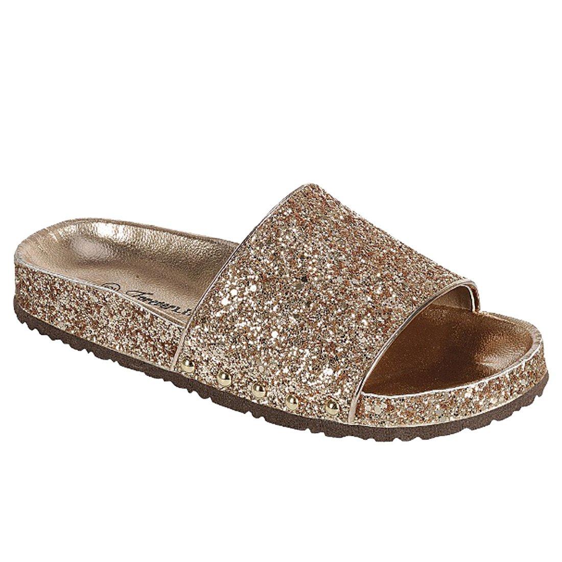 FOREVER FR01 Women's Sparkle Glitter Wide Band Slide Sandals, Color:Rose Gold, Size:7.5