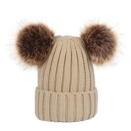 Cappello maglia donna LUOEM Berretto Beanie spessa con 2 pon pon rimovibile  per inverno da Donne b42f8edef61c