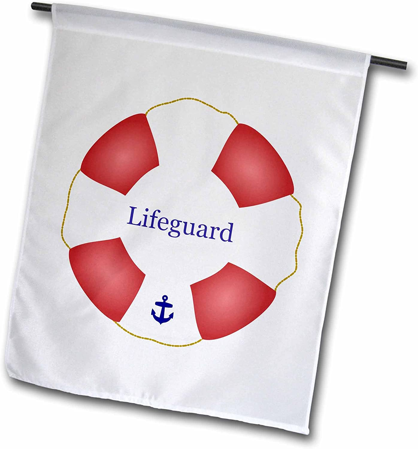 3dRose fl_112970_1 Lifeguard Lifesaver Swimming Pool Life Saver Preserver-Sea Beach Life Guard Red and White Float Garden Flag, 12 by 18-Inch