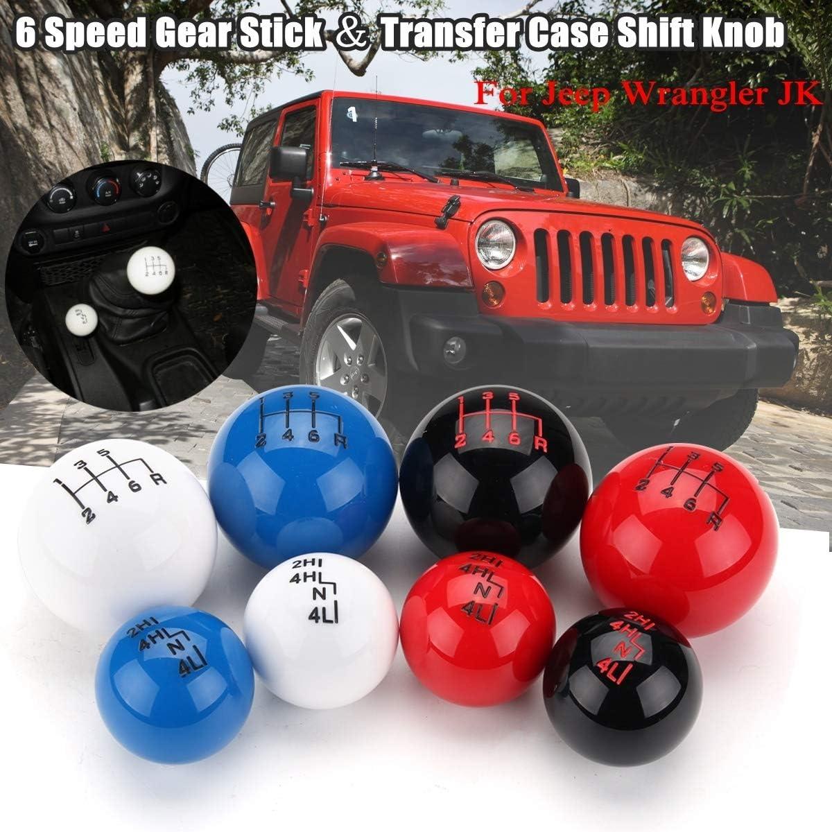 1pc Bola Coche Estilo 6 Speed Transfer Case Cambio de Engranaje de la Perilla Principal for Jeep//Wrangler YJ de TJ y JK Color : Negro