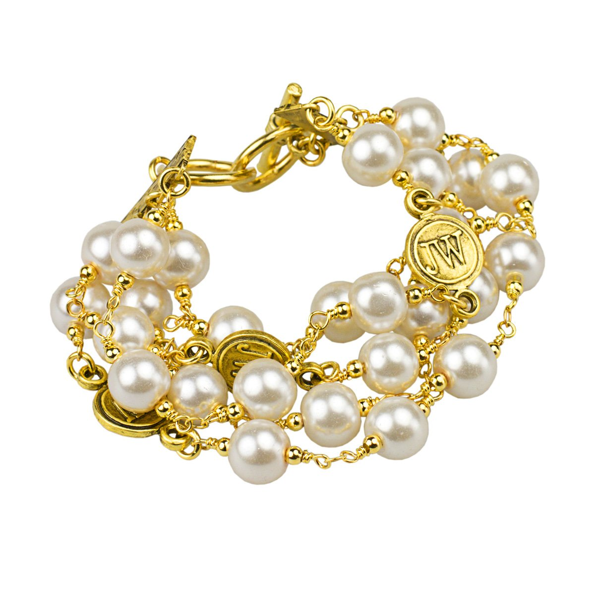 John Wind, Multi-Strand Anniversary Pearl Bracelet (Gold Finished Base Metal) by John Wind