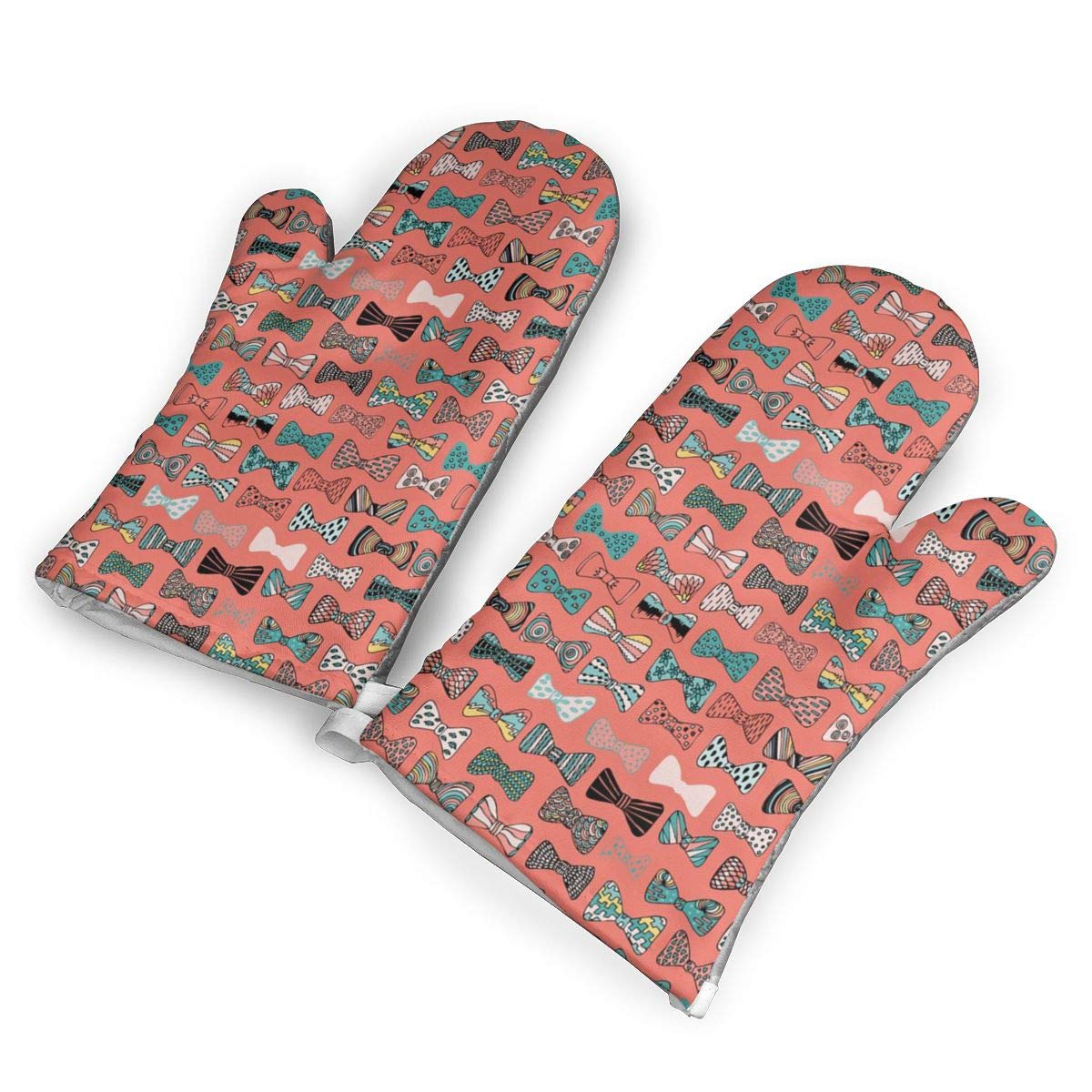 Victoria-Ai Bow Tie Geek in Pink Oven Mitts Premium Heat Resistant Kitchen Gloves Non-Slip Easy to Use Baking Mittens for BBQ/Cooking/Grilling