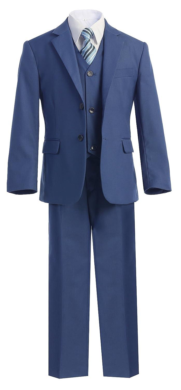 Magen Kids 5 Pc Boys Formal Blue Suit, Vest, Pant, Dress Shirt, Tie Set Size 1-18 BS-US-BLUE
