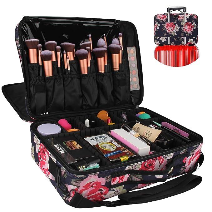 ChomeiuChomeiu - Neceser profesional para maquillaje, estuche para accesorios, estuche para herramientas (negro - M), Flower-L, 1.00[set de ]: Amazon.es: Belleza