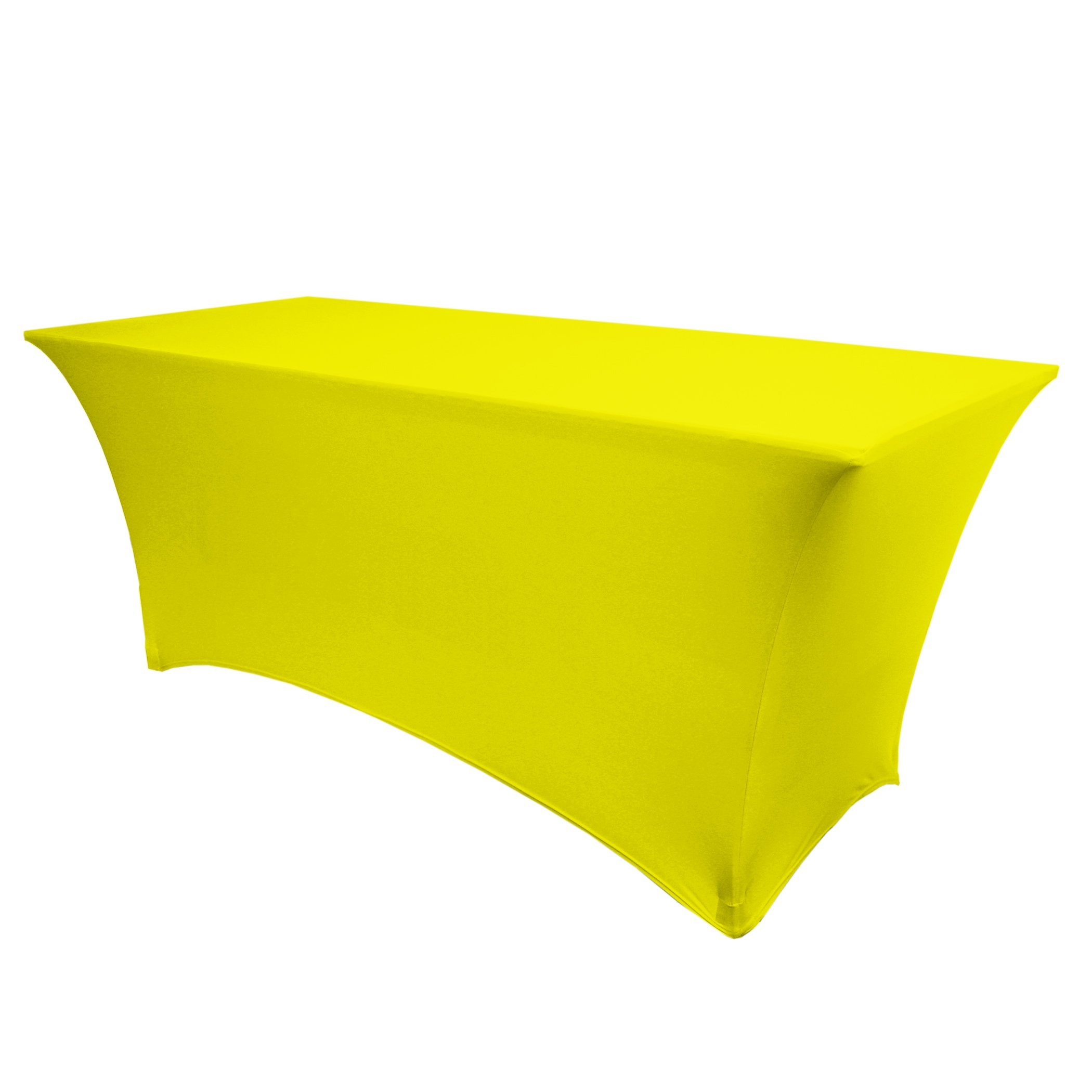 Ultimate Textile 6 ft. Fitted Spandex Table Cover - Fits 18 x 72-Inch Rectangular Tables, Neon Yellow