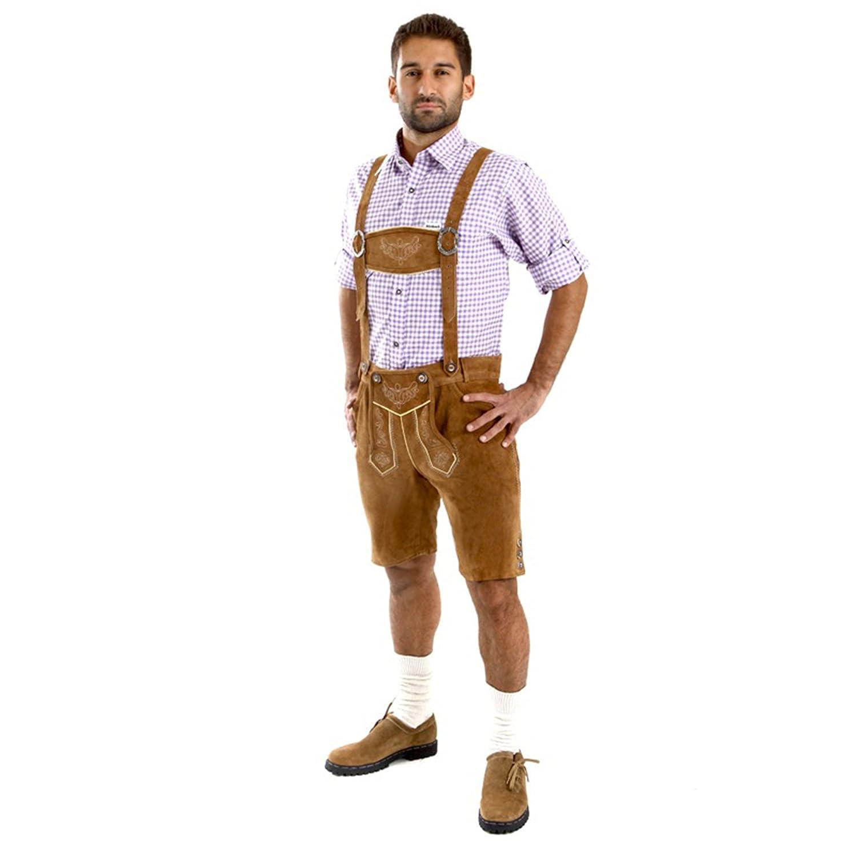 Almbock Lederhose Herren Herren Herren kurz   Trachten Lederhose kurz aus edlem Leder von Gr. 46-60   Kurze Lederhose in vielen Farben perfekt für Oktoberfest oder Karneval B00HZH9FE8 Lederhosen Günstige Bestellung dd9a7e
