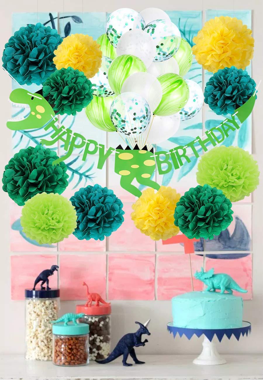 Dinosaurio Feliz Cumpleaños Kit de Decoraciones Dino Jungle Jurassic Garland Banner Foto Props Papel de seda Pom Poms Verde Rainbow Marble / Green Confetti ...