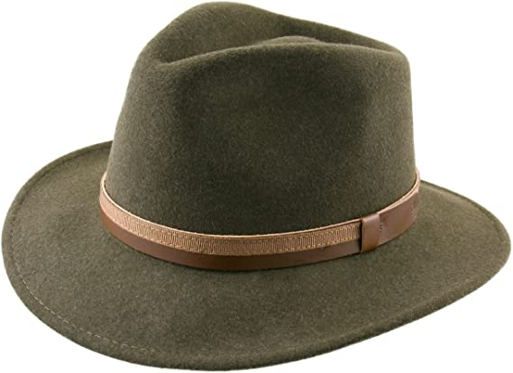 Classic Italy Classic Traveller II Wool Felt Fedora Hat Packable Water Repellent Size 61 cm Camel