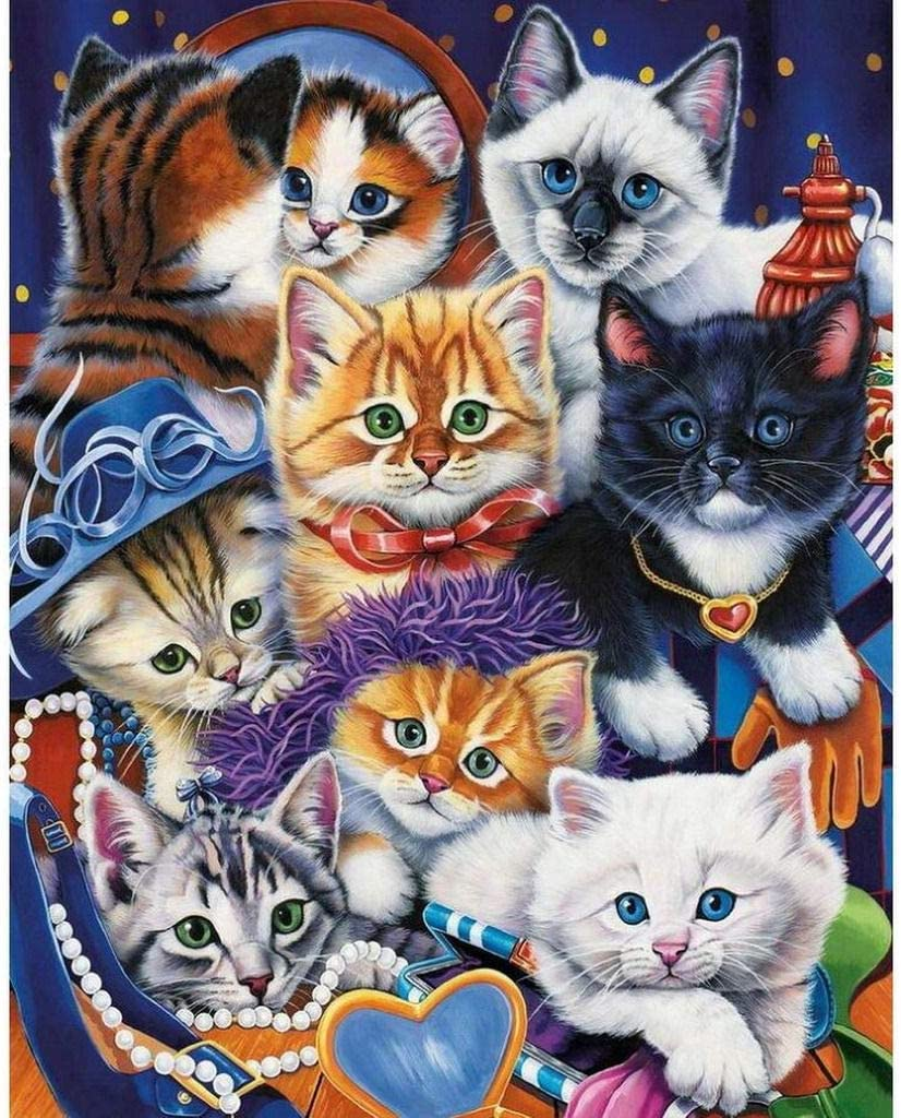 Ukerdo DIY Diamante Pintura Ocho Gato Cuadros Pared Art Decoracion