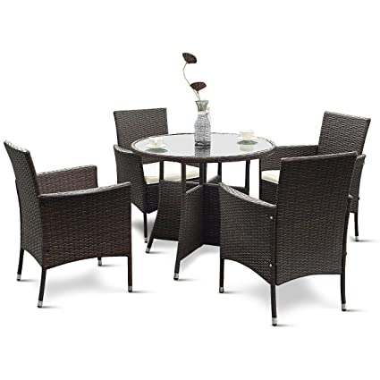Enjoyable Tangkula 5 Piece Dining Set Patio Furniture Outdoor Garden Lawn Rattan Wicker Table And Chairs Set Conversation Chat Set With Tempered Glass Top Table Download Free Architecture Designs Photstoregrimeyleaguecom