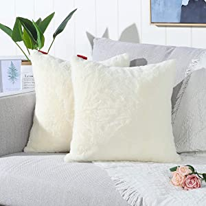 Mandioo Pack of 2 Cream Yellow Faux Fur Fuzzy Cozy Soft Decorative Throw Pillow Covers Set Cushion Cases Pillowcases for Sofa Bedroom Car 20x20 Inches