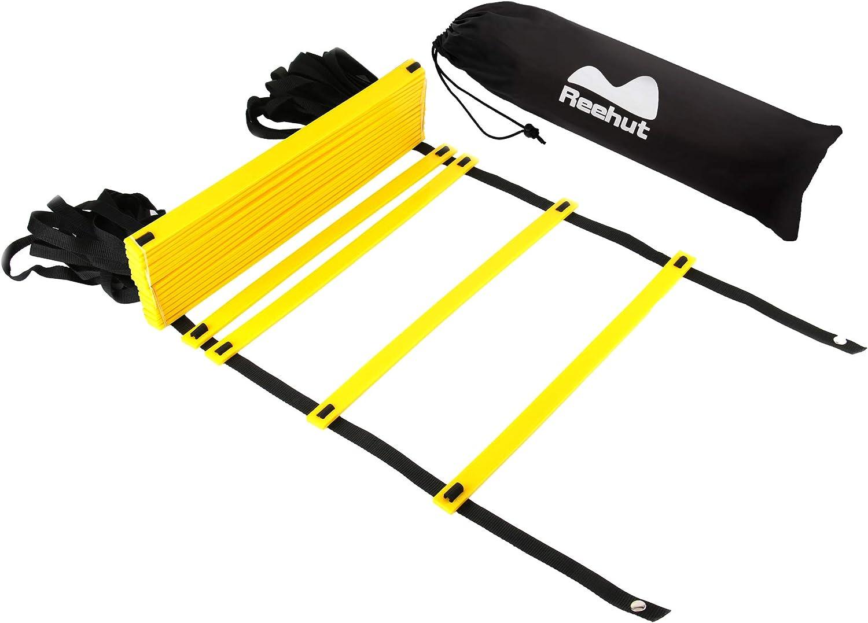 REEHUT Agility Ladder w Free User E-Book Carry Bag – Speed Training Equipment for High Intensity Footwork 8 Rungs 12 Rungs 20 Rungs