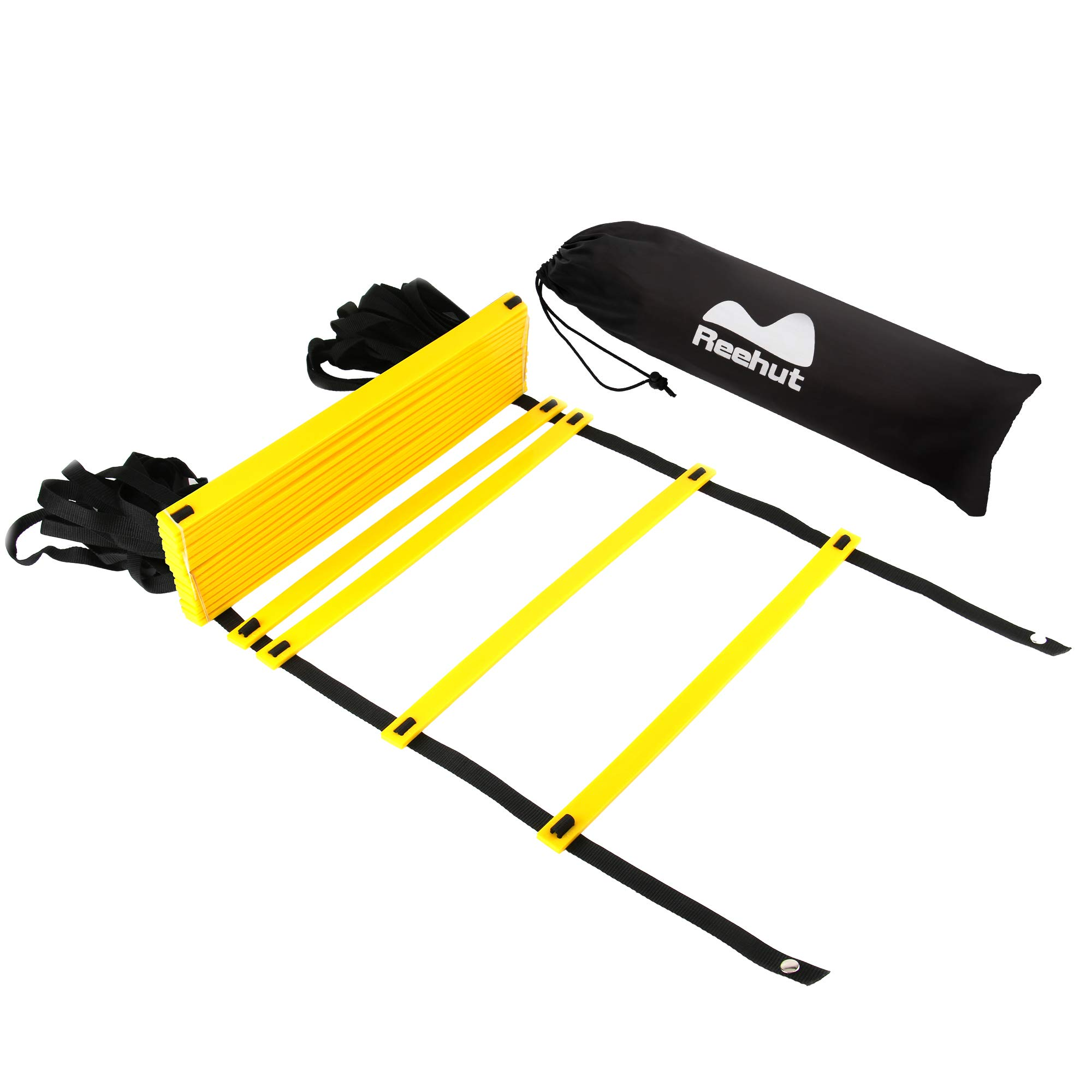 REEHUT Durable Agility Ladder W/Bonus Carry Bag - Speed Training Equipment for High Intensity Footwork - Great for Soccer Workout, Football Drills, Basketball and More - Yellow, 12 Rungs by REEHUT