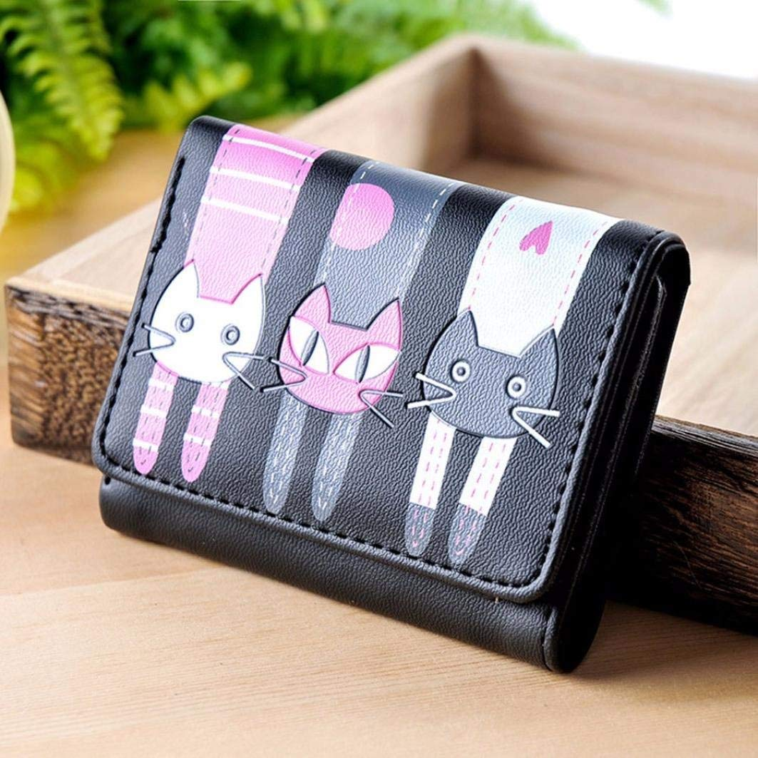 52be673c9 Small Change Purse Coin, Women Girls Cat Pattern Coin Purse Short Wallet  Card Holders Handbag Leather Coin Purse Black at Amazon Women's Clothing  store: