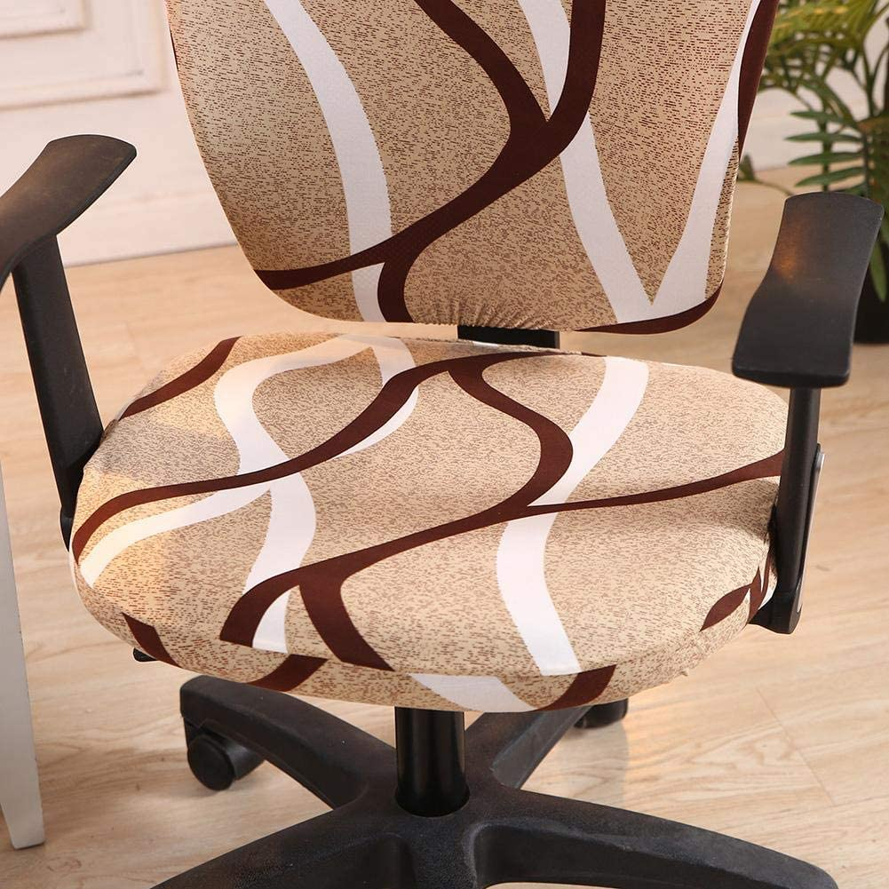 wonderfulwu Stretch Chair Covers Spandex Office Computer Chair Cover Removable Washable Rotate Swivel Chair Protective Covers Gray