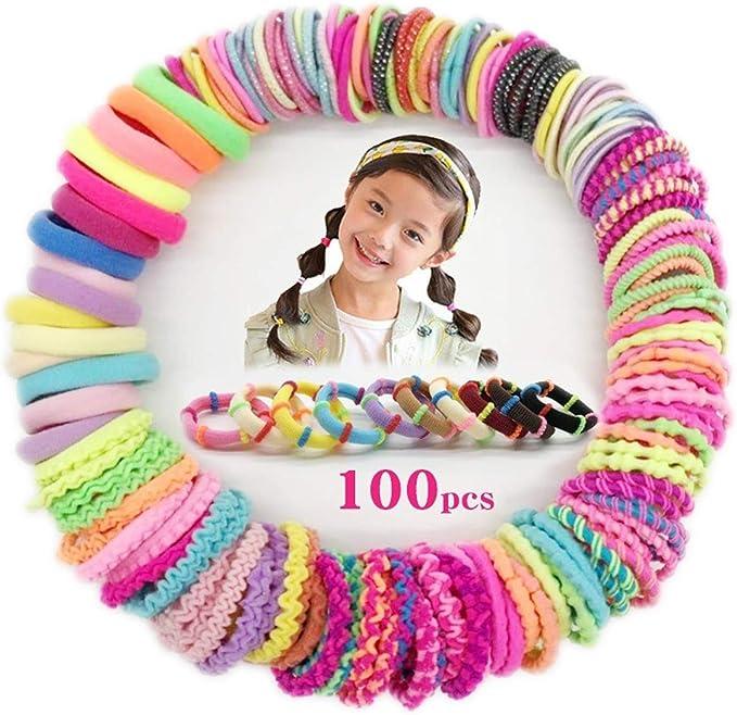 Myhozee 100 Piezas Gomas de Pelo Niñas Elástico, Hair Scrunchies Coleteros Bandas de Cabello del Bebé Pequeñas Accesorios para el Cabello con 10 estilo para Niños Bebés: Amazon.es: Belleza