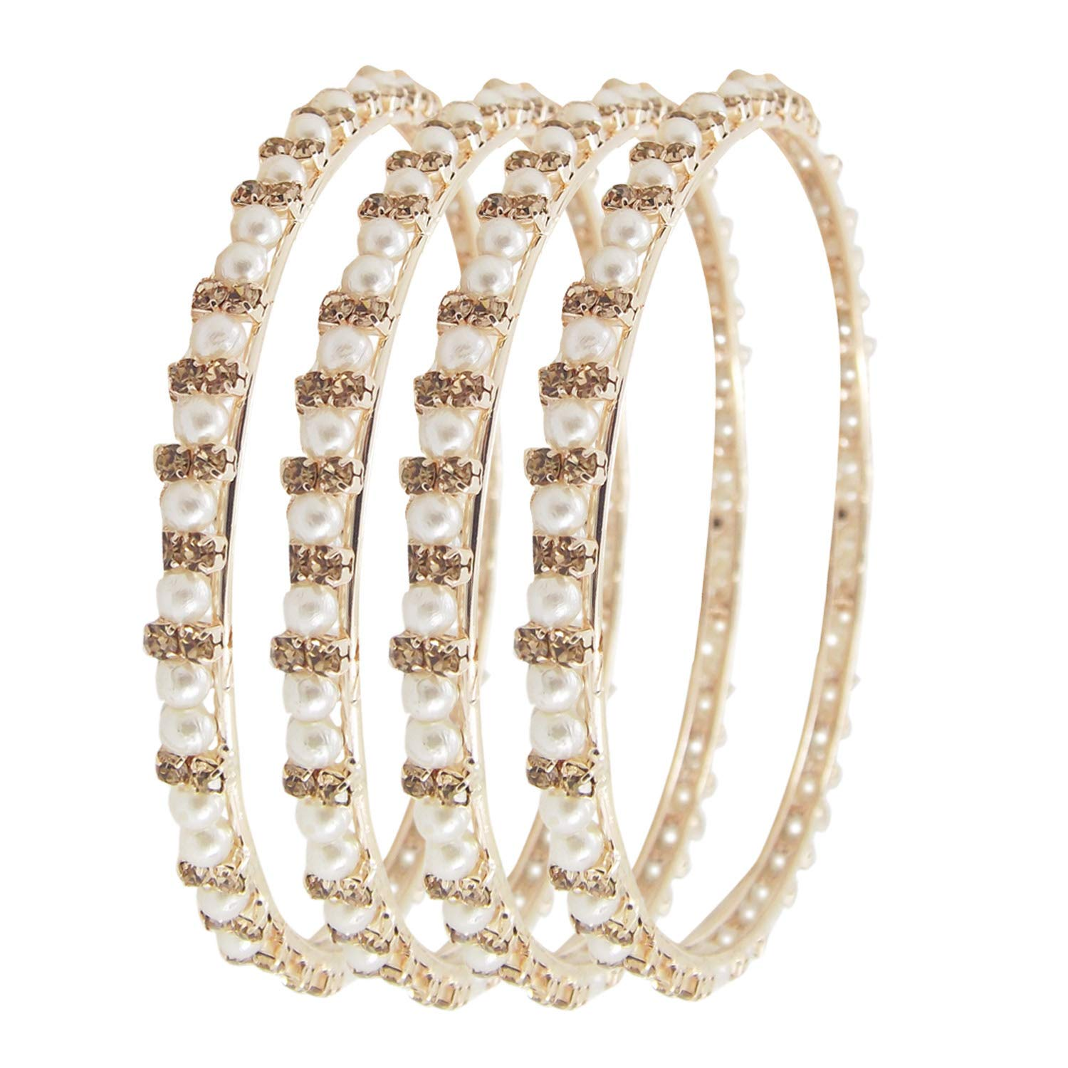 Biyu Pearl Collection LCT CZ Gold Plated Stone 4pc Bangles for Womens Girls