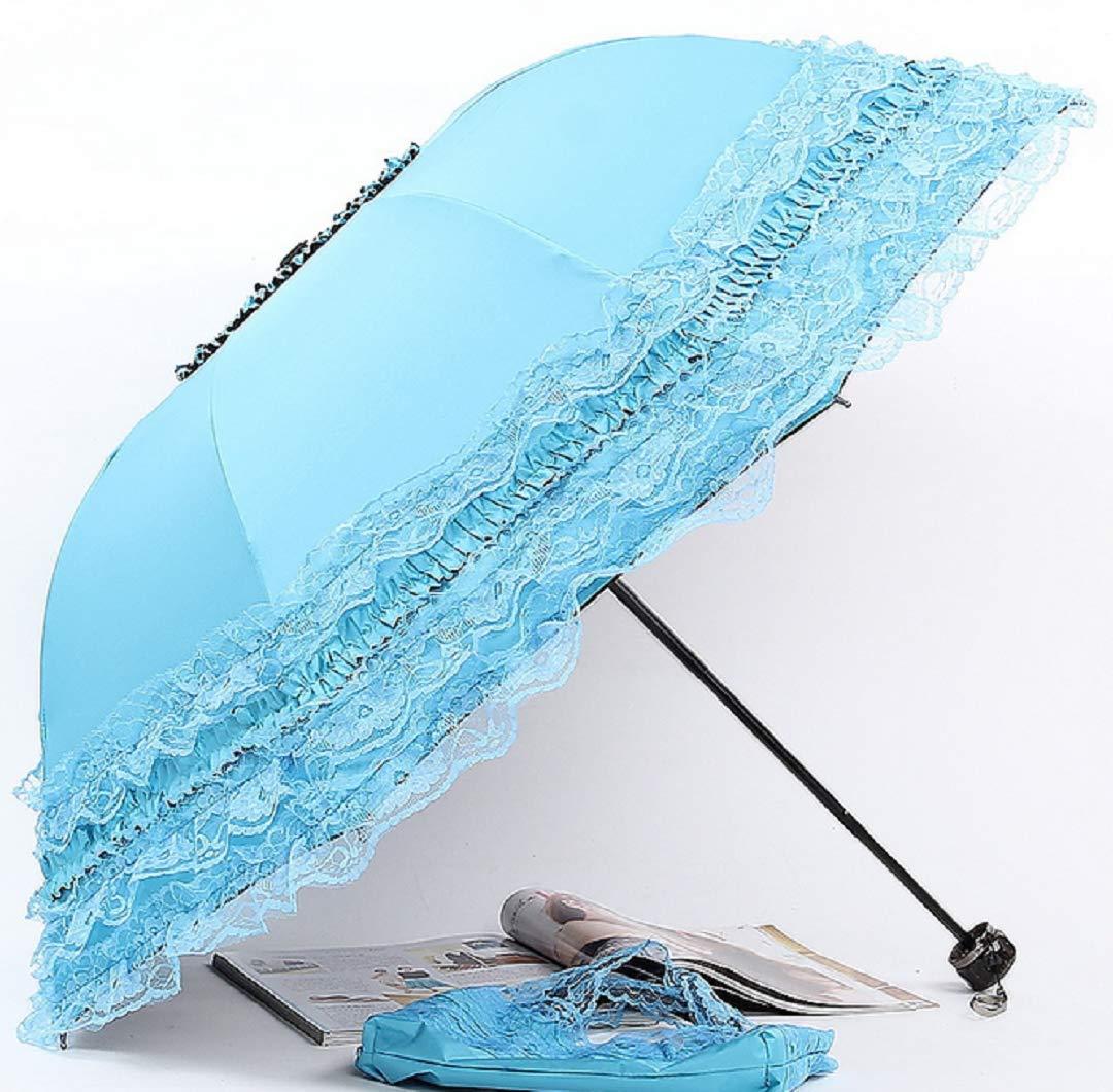 WMC-GHYTravel 傘 折りたたみ UV抵抗 プリンセス レース パラソル 傘 サン傘 レディース ガールズ B07G9CHSRM ブルー