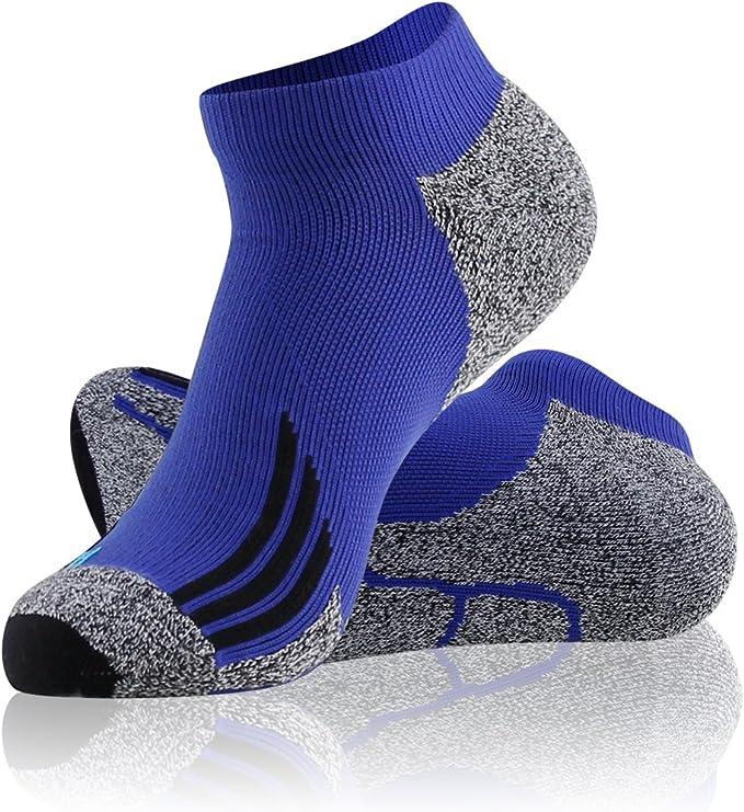 LANDUNCIAGA Men's Ankle Running Socks Unisex Compression Cycling Tennis Athletic Socks 10-15 mmHg,1/3/6 Pairs