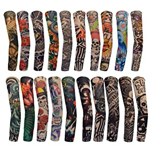 20PCS Temporary Tattoo Arm Sleeves Arts Fake Temporary Tattoo Arm Sunscreen Sleeves Stockings Slip Accessories Halloween Tattoo