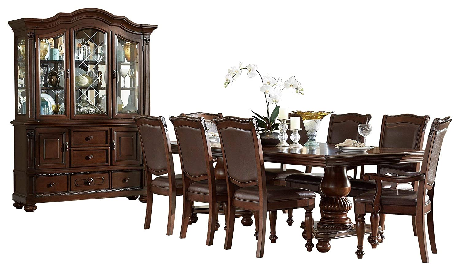 Licona Traditional 10PC Dining Set Double Pedestal Table, 2 Arm Chair, 6 Side Chair, Buffet & Hutch in Brown Cherry