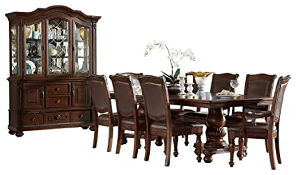 Image Unavailable Not Available For Color Licona Traditional 10PC Dining Set Double Pedestal Table 2 Arm Chair