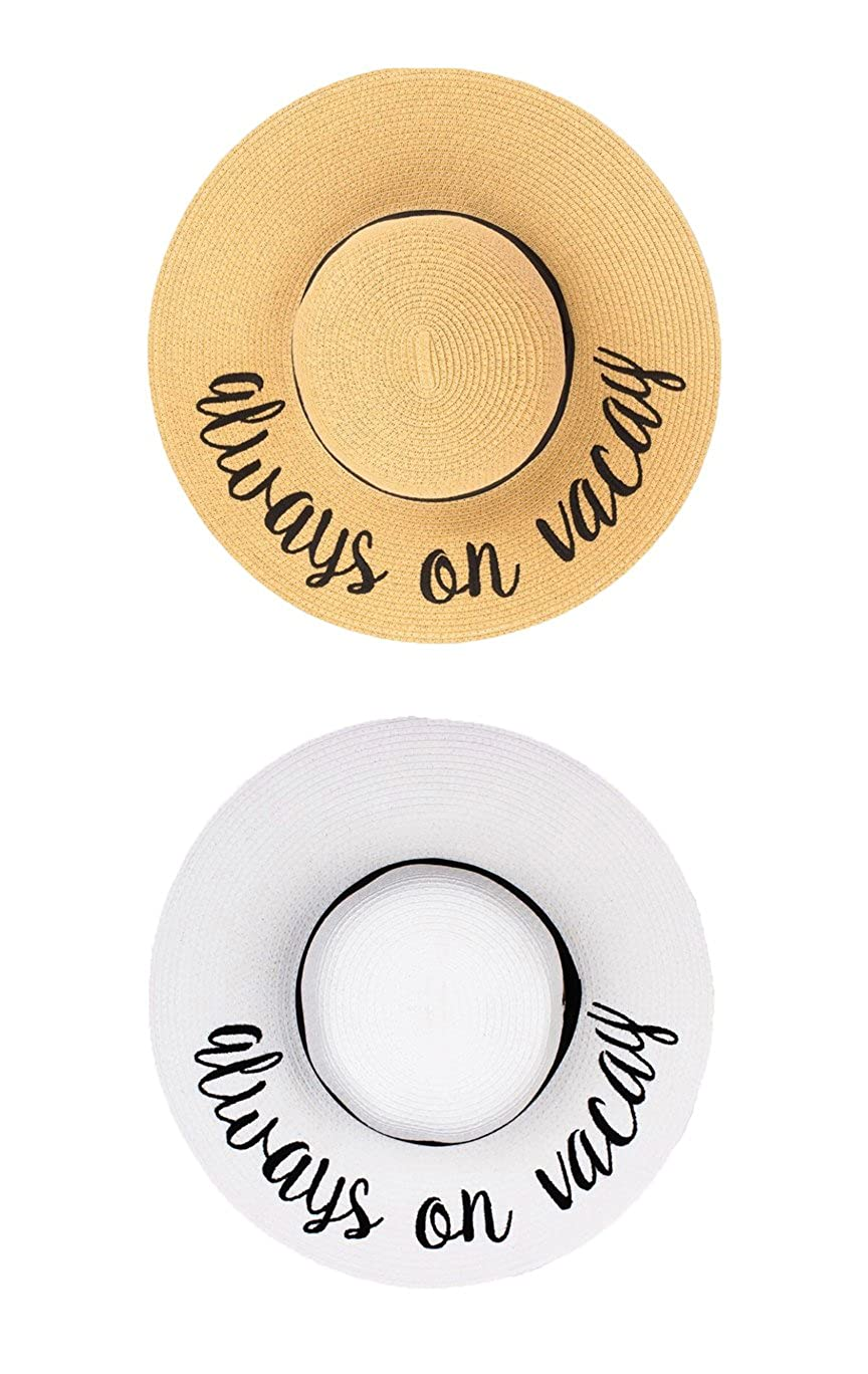 Always on Vacay Bundle  Natural & White Funky Junque Women's Bold Cursive Embroidered Adjustable Beach Floppy Sun Hat