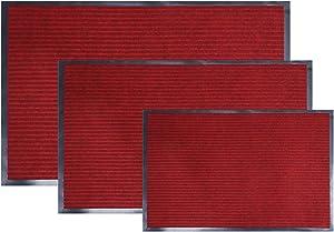 fani 3-Pack Doormat Outdoor, Wine Red Entrance Rug Floor Entryway Patio Waterproof Low-Profile Mats, Non Slip Easy Clean Outdoor Indoor Shoe Scraper Rug, Heavy Duty Rubber Outside Floor Rug