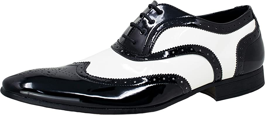 TALLA 43 EU. Smokies Hombres Zapato de Novia George sintético Zapatos clásicos de Laca para Smoking (EU,)