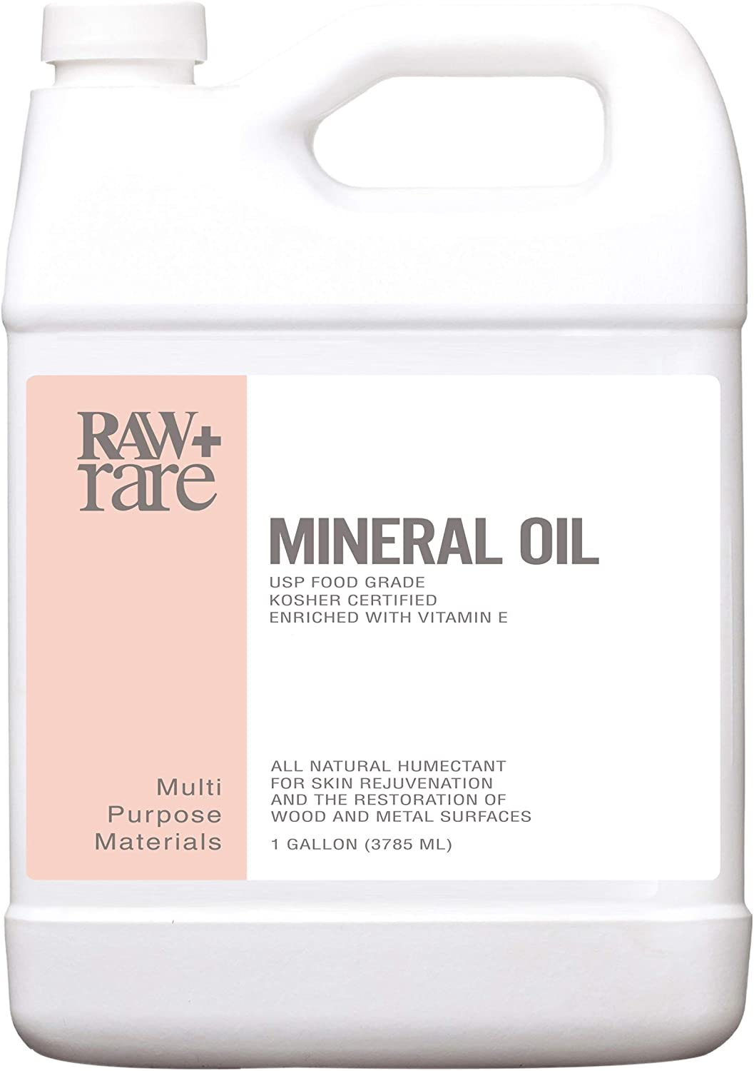 Mineral Oil Gallon, Food Grade Safe Wood/Bamboo Oil, Cutting Board, Butcher Block Conditioner, Knife Blade, Cast Iron Tools, Pans for Food Kitchen, Vegan by Raw Plus Rare (1gal)