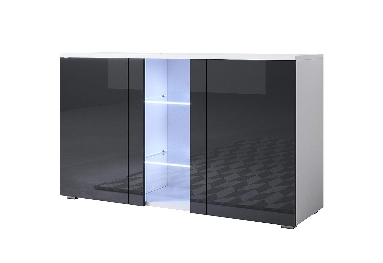 Muebles bonitos Letti e Mobili - Credenza Modello Luke A1 con LED (120x72cm) colore Bianco e Nero con Piedini Standard