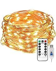 LE Stringa Luminosa 10m, 100 LED in Rame, 8 Modalità d'illuminazione, Dimmerabile, Impermeabile IP65, Modellabile, Funzione Memoria, Bianco Caldo 3000K Telecomando Incluso per Decorazioni Feste